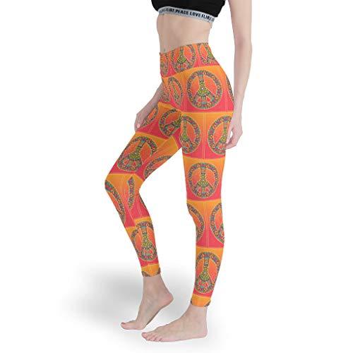 Peace & Love - Leggings da ginnastica da donna, per fitness, per il controllo della pancia, pantaloni sportivi aderenti, da donna bianco 3XL