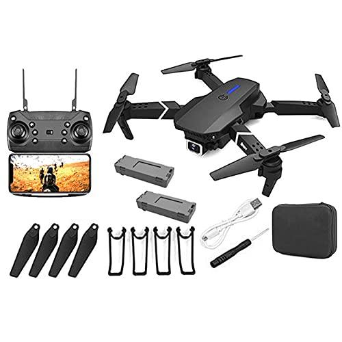 Drone, Drone con fotocamera, E88 Pro Drone per adulti 4K Pro Dual fotocamera Pieghevole Video live Drone RC Quadcopter Aircrafts con 2 BATCHIY NERO