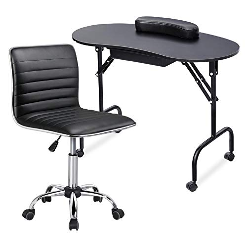 Yaheetech 37-inch Foldable Manicure Table Nail Desk Workstation w/Carrying Case/Wheels for Spa Beauty Salon and Adjustable Low Back Armless Swivel Office Chair Set Black