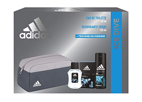 Adidas, Confezione Regalo Uomo Ice Dive, Eau De Toilette 50 Ml, Deodorante Spray 150 Ml, Trousse da Viaggio