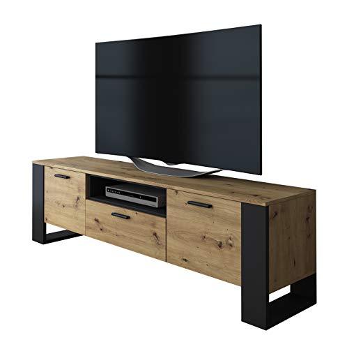 LUK Furniture Art TV-Schrank Eiche Artisan Fernsehschrank mit schwarzen Füßen TV- Bank Sideboard Lowboard Wohnwand Wohnzimmer