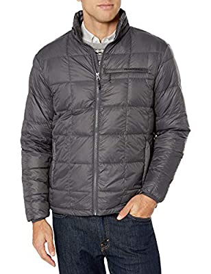 Hawke & Co Men's Lightweight Box Quilt Down Jacket | Water and Wind Resistant All Season Coat, Graphite, Medium from Hawke & Co