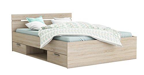 Funktionsbett 140 * 200 cm Grau Sonoma Eiche inkl. 2 Bettschubkästen Kinderbett Jugendbett Jugendliege Bettliege Bett Kinderzimmer