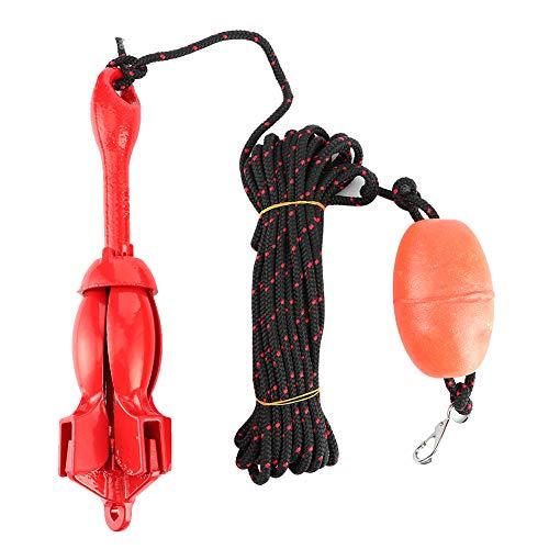 Anclajes para barcos, kit de anclajes para barcos plegables de 3,3 lb/1,5 kg Kit de anclaje de garfio de acero inoxidable universal para barco, yate, kayak, canoa, ancla