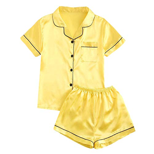 MakeMeChic Women's Solid Button Front Top & Shorts Satin PJ Set Yellow S