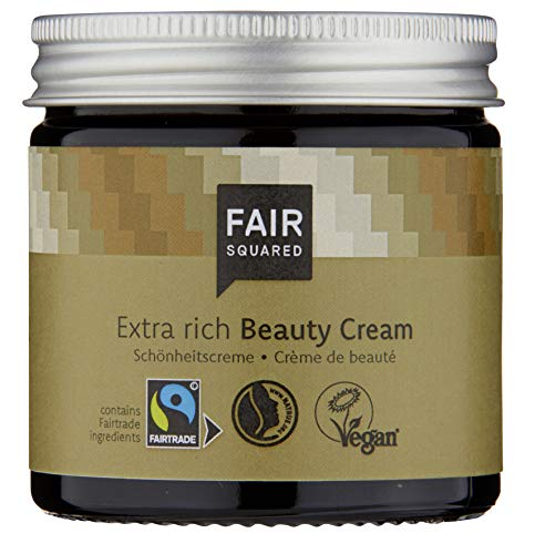 FAIR SQUARED Beauty Creme Argan 100 ml - Hautcreme Intensivpflege für sehr trockene Haut - Vegane Fairtrade Naturkosmetik im Zero Waste Pfand-Glastiegel