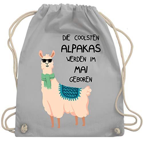 Shirtracer Geburtstag - Die coolsten Alpakas werden im Mai geboren Sonnenbrille - Unisize - Hellgrau - lama geburtstagsdeko - WM110 - Turnbeutel und Stoffbeutel aus Baumwolle