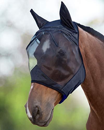 Harrison Howard CareMaster Maschera Anti-Mosche per Cavallo UV Protezione con para Orecchie Nero (S; Pony)