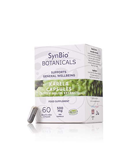 SynBio Botanicals - Karela (Bitter Melon Extract) Capsules 500mg | Vegan Certified | Made in UK | Gluten Free | Salt Free | Nut Free | Kosher (KLBD) | Halal | Supports General Wellbeing