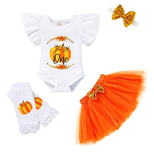 Conjunto de 4 piezas de ropa para bebé de manga larga de calabaza, tutú de tul, diadema, calentadores de piernas, juego de 4 piezas (blanco 1, 9-12 m)