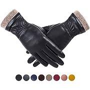 REDESS Winter Lederhandschuhe für Frauen, Wollfleece gefütterte warme Handschuhe, Touchscreen Texting Thick Thermal Snow Driving Gloves