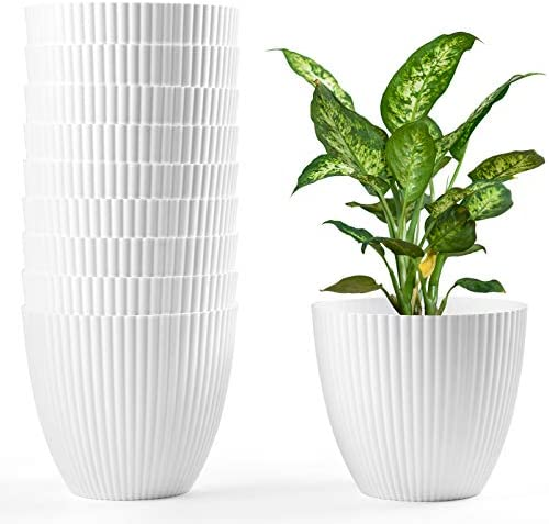 HOMENOTE 6 Inch Plant Pots 10pcs White Plastic Planter Indoor Plant Pots Modern Decorative Small product image