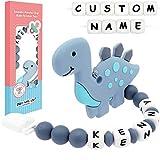 Panny & Mody Schnullerkette mit Namen für Mädchen und Jungen, Schnuller Clip Silikon Perlen Dinosaurier Beißring Zahnen für Babys(Grau)