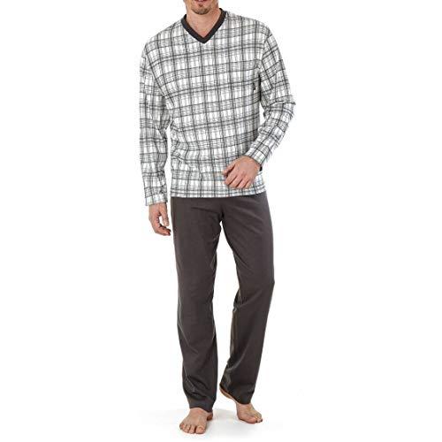 Hajo Herren Schlafanzug Pyjama Designwahl (48/S, Stein)