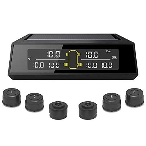 Elikliv Coche Rv Camión TPMS Presión de los Neumáticos Sistema Monitoreo, Inalámbrico Energía Solar Digital Pantalla LCD Remolque Auto Alarma Seguridad Con 6 Externo Sensores