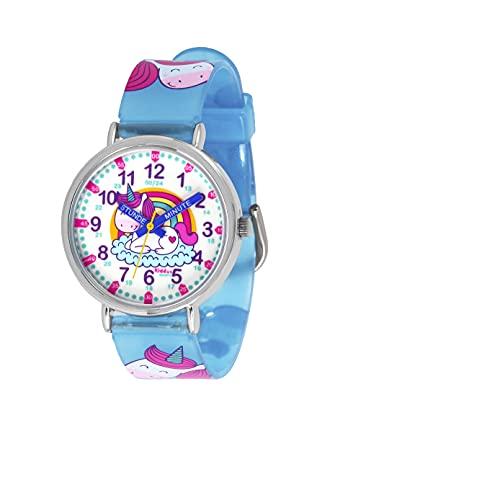 KIDDUS Lern Armbanduhr für Kinder, Jungen und Mädchen. Analoge Armbanduhr mit Zeitlernübungen. Zeit Lehrer. Time Teacher. Einhorn. Minuten und Stunden Beschriftet. Fluoreszierend