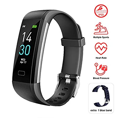 Fitness Tracker HR, Activity Tracker Watch with Blood Pressure Heart Rate Monitor, Pedometer, Sleep Monitor, Calorie Step Counter, Vibrating Clock IP68 Waterproof for Women Men Kids Gift (Black)
