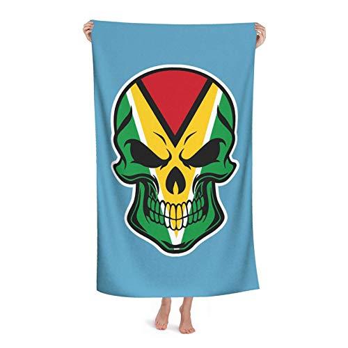 Duschtuch Spa Guyana Flagge Schädel Fitnesshandtuch Groß Duschtuch Premium Badetuch Für Reise Outdoor Sport 80X130 cm