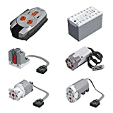ZCXX Juego de 6 funciones de potencia con mando a distancia, caja de batería, motor servomotor para coches de tecnología Lego Technic