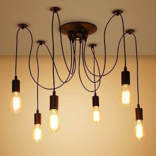 Maxmer Lámparas de Araña Iluinación de Techo Luz Colgante 6 Interfaces, Casquillo E27 Máx 60W