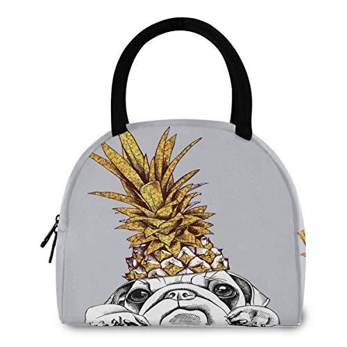 ZzWwR Cute French Bulldog in Gold Pineapple Crown Reusable Lunch Tote Bag with Front Pocket Zipper Closure Insulated Thermal Cooler Container Bag for Work Picnic Travel Beach Fishing