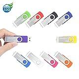 10 Piezas 32GB USB 2.0 ENUODA Pendrive Multicolor Pivote Memorias Giratoria Plegable Diseño de Cierre (10 Colores Mezclados)