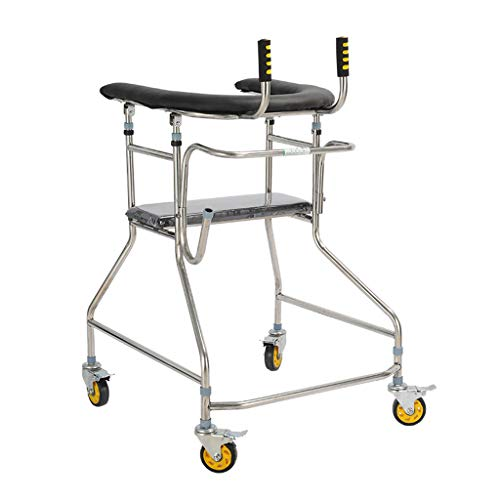 JPVGIA Gehhilfe mit gepolstertem Arm und Bremse 360 ° drehbares Rad 4 Rollen Walker Rollator für ältere Menschen mit eingeschränkter Mobilität
