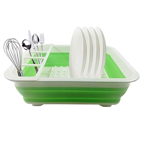 Premium opvouwbaar servies afdruiprek - inklapbaar servies afdruiprek, bestek afdruiprek - ruimtebesparer voor kleine keuken, camping & reizen - duurzaam & licht - 36,5 cm x 31,5 x 13 cm groen