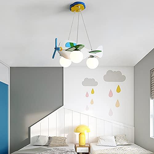 Chandelier de la habitación para niños, Historieta creativa Aeroplano Art Deco DIRIGIÓ Iluminación colgante, accesorios de iluminación de techo azul moderno de helicóptero, para niños, habitación, hab