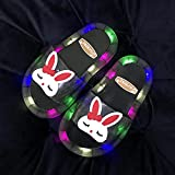zapatillas de casa para mujer primavera,Zapatillas para niños, Summer Led Baby Luminoso Zapatillas, chanclas de niño y niña, lindas Sandalias de conejito, zapatillas de piscina de baño de playa-EU 32
