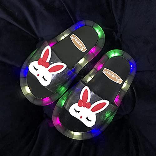 zapatillas deportivas de mujer blancas,Zapatillas para niños, Summer Led Baby Luminoso Zapatillas, chanclas de niño y niña, lindas Sandalias de conejito, zapatillas de piscina de baño de playa-EU 30/