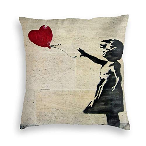 Feamo Banksy'S Girl With A Red Balloon Velvet Soft Decorative Square Throw Pillow Covers Cushion Case Pillowcases for Sofa Chair Bedroom Car 18X18inch