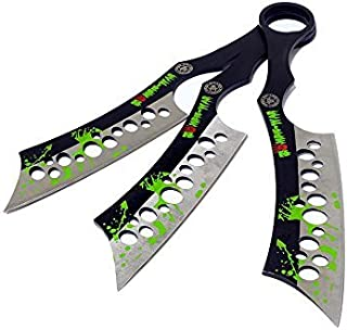 Defender All Black Throwing Knives with Sheath (Set of 3) Set of 3 Zombie Green Blood Throwing Knives