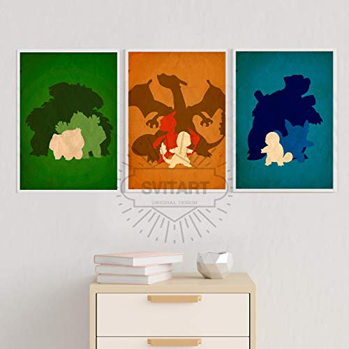 Minimalist inspired Pokemon Poster set, Pokemon prints, Pokemons home decor, All Prints avialable in 20 SIZES and 3 type of MATERIALS