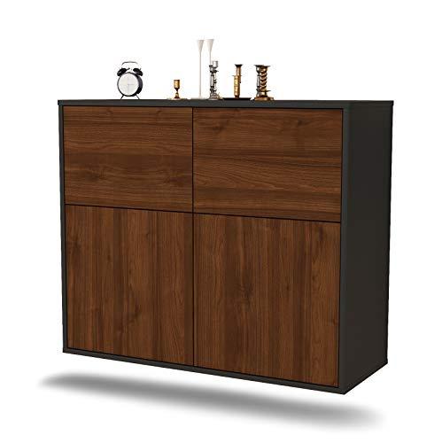 Dekati Sideboard Gilbert hängend (92x77x35cm) Korpus anthrazit matt | Front Holz-Design Walnuss | Push-to-Open