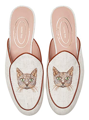 Journey West Women's Mules Flats with Embroidery Belgian Loafers Slip on Slippers for Women Cat White US 6.5
