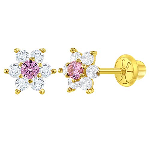 14k Yellow Gold Clear & Pink Cubic Zirconia Flower Screw Back Earrings for Girls, Tiny Stud Earrings for Toddlers & Little Girls - Small Floral Studs for Young Girls, Lovely Flowers for Children