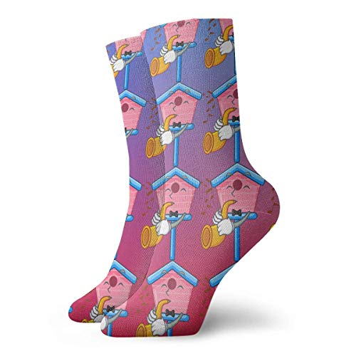 Grappige Crazy Crew Sock Trompet Houten Vogelhuis Op Een Paal Cartoon 3D Gedrukt Winter Sport Atletische Sokken 30 cm Lange Gepersonaliseerde Gift Sokken