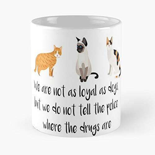 Taza de café de cerámica con texto en inglés «Not Vintage are Pew Loyal and Dog Madafakas Black Cat White We As Funny Eat Food Bite John Best de 315 ml
