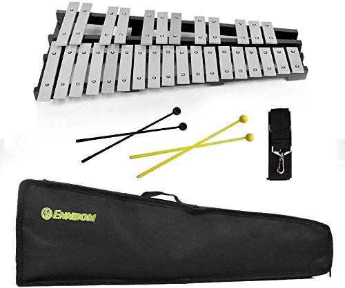 ENNBOM 30 Notes Foldable Glockenspiel Xylophone Vibraphone Percussion Instrument (4 mallets)