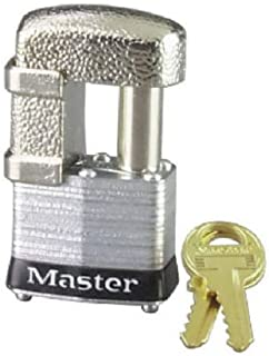 Master Lock 37D Shrouded Laminated Steel Pin Tumbler Padlock, Keyed Different, 1-9/16-Inch Wide Body, Shackle Fits 9/32-Inch Or 1/2-Inch Diameter