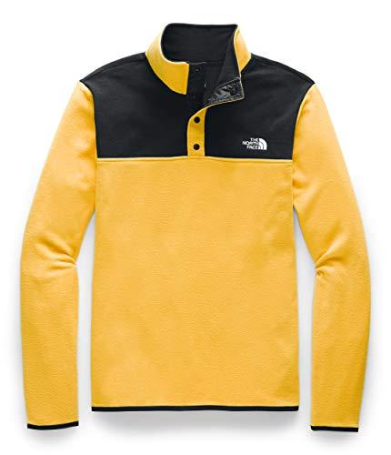 The North Face Men's TKA Glacier Snap-Neck Pullover, TNF Yellow/TNF Black, L
