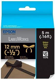 Fita para Rotuladora Epson com 12mm x 5m Dourado/Preto LC4BKK5