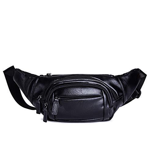 ZLZL rits Pu-leer gordeltas heuptas schoudertas borst buikriem handtassen casual multifunctionele mobiele telefoon zak business pakket zwart