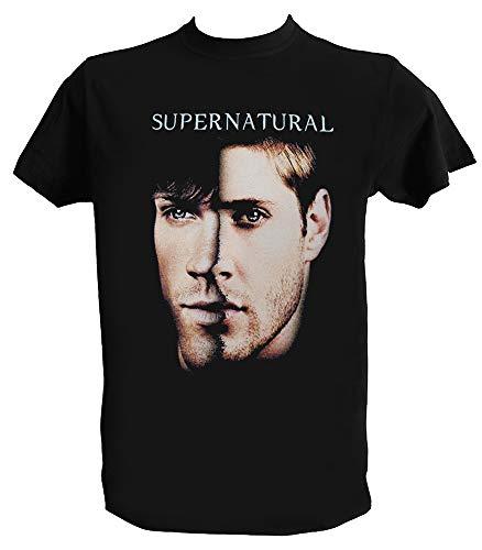 T Shirt Supernatural Uomo Bambino Sam Dean Team Winchester Maglietta Serie TV, Uomo - M