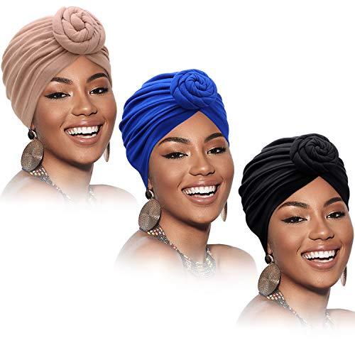 SATINIOR 3 Stücke Afrikanischen Turban für Damen Knoten Pre-Gebunden Motorhaube Hut Kopfbedeckung (Schwarz, Blau, Khaki)