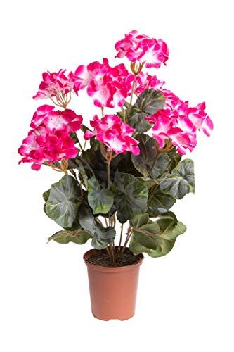 Flora-Seta künstliche Geranie (Geranienbusch) groß mit 9 Stielen im Kunststofftopf (Fuchsia)
