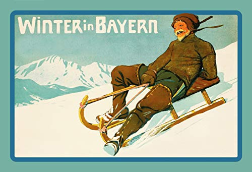 FS Nostalgie Winter in Bayern (Schlitten) Blechschild Schild gewölbt Metal Sign 20 x 30 cm