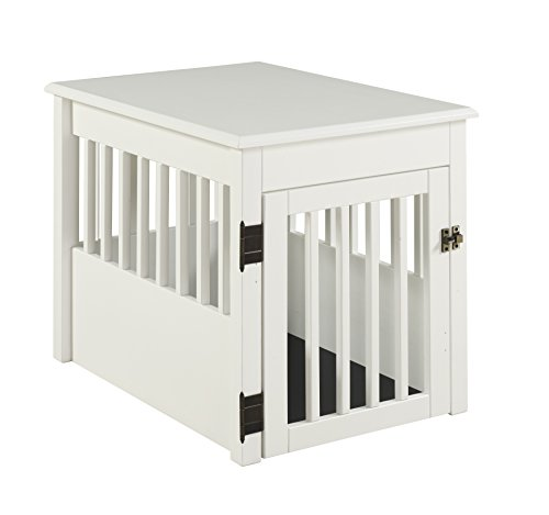 BarkWood Pet Crate End Table - White Finish Crates Dog Furniture-Style Supplies Top
