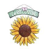 WINOMO Placa de bienvenida de girasol, placa de decoración de girasol de hierro vintage